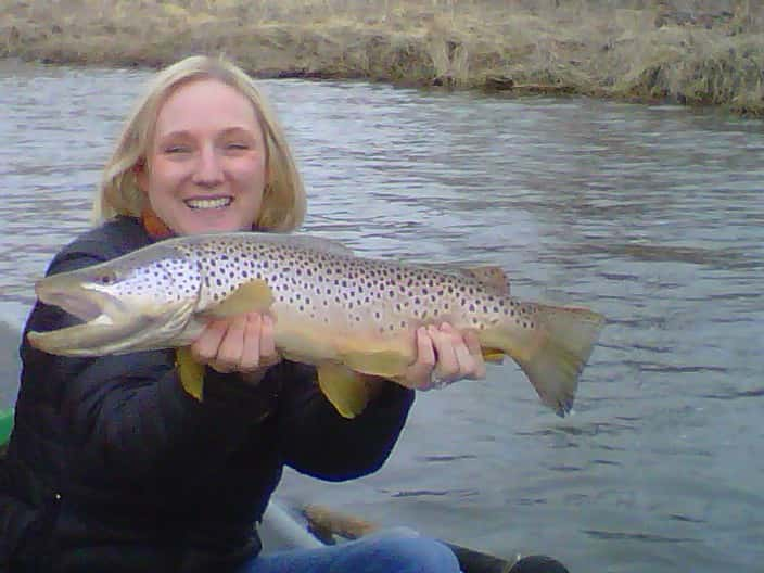 liz anderson with a nice brown trout