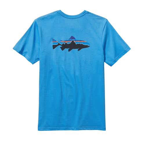 Patagonia men 39 s fitz roy trout cotton t shirt for Patagonia fly fishing shirt