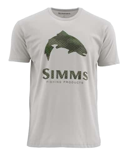 Simms Hex Camo Logo Trout Short Sleeve Tee Closeout Sale