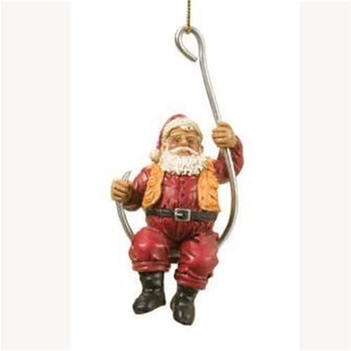 Santa holding on tight sitting on a hook ornament