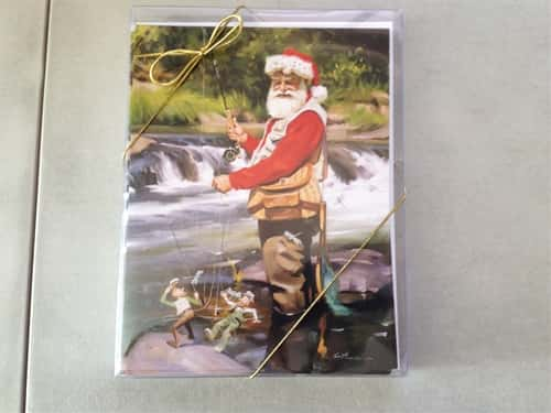 Santa Claus With Rod Holiday Cards