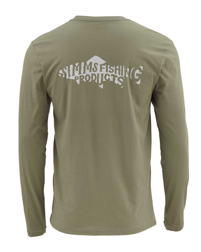 Simms Woodblock Trout Long Sleeved T-shirt Closeout Sale